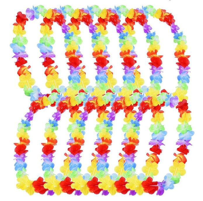 200Pcs lot Hawaiian Flower leis Garland Necklace birthday jungle Party event Decor hawaii party decorations Flowers