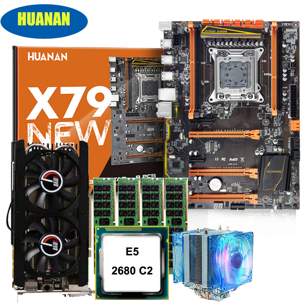 Custom Made PC Assembly New HUANAN ZHI Deluxe X79 Motherboard CPU Xeon E5 2680 C2 RAM 64G(4*16G) DDR3 GTX760 2G DDR5 Video Card