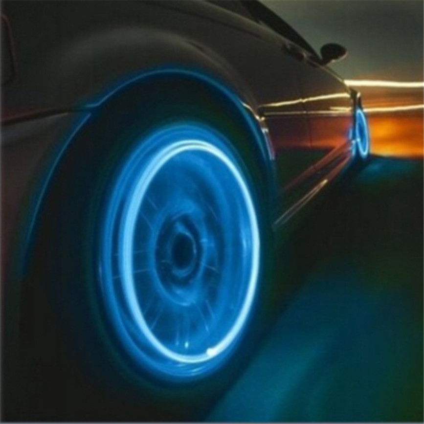 High Quality 100% Waterproof Auto Accessories Bike Supplies Neon Blue Strobe LED Tire Valve Caps-2PC