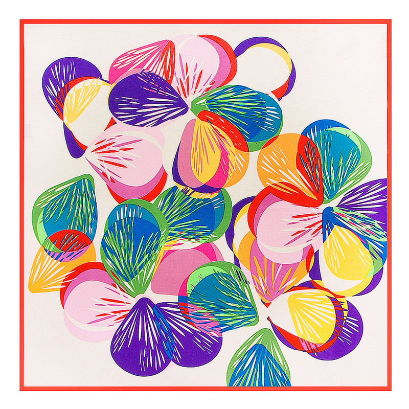 [LESIDA] Square Scarf Women Ladies Colorful Geometric Butterfly Print Bandana Small 100% Silk Scarf Tube Bufandas 60*60CM 6141