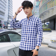 2019 spring Long-sleeved checked Men's Youth Students'Leisure jacket full