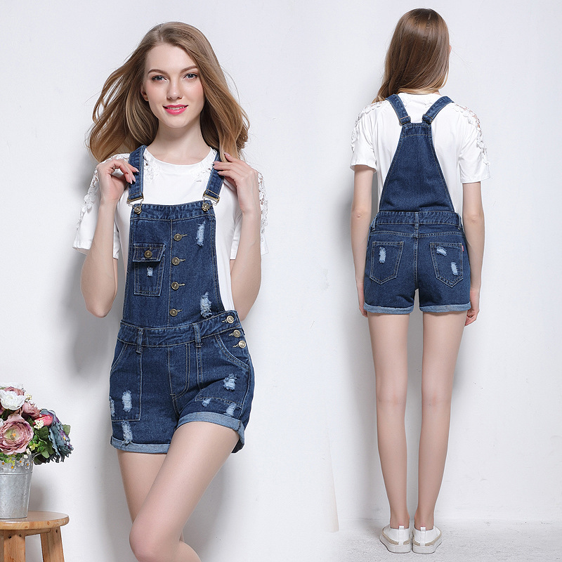 b32d7affeac 2017 New Summer Vintage Ripped Denim Romper Women Jumpsuit Denim Overalls  Casual Strap Pockets Short Cuffed Jeans Blue Fashion-in Rompers from  Women s ...