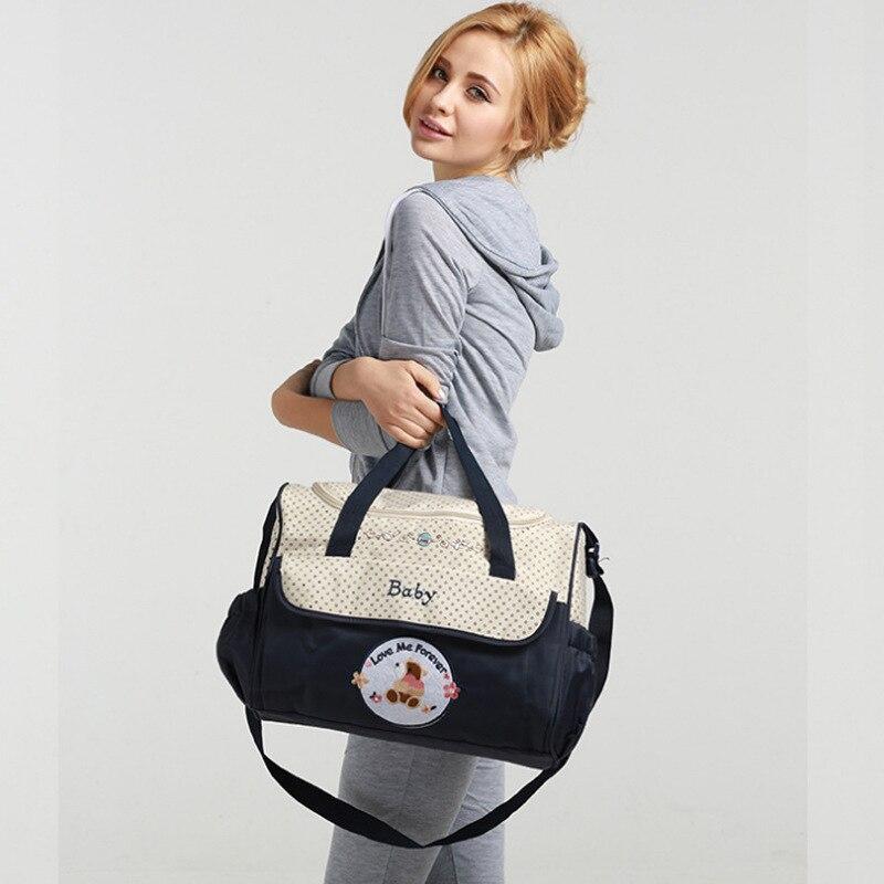 सुपर लार्ज कैपेसिटी बेबी ममी बैग मल्टीफंक्शनल वाटरप्रूफ शोल्डर बैग हैंडबैग मॉम बैग पोर्टेबल