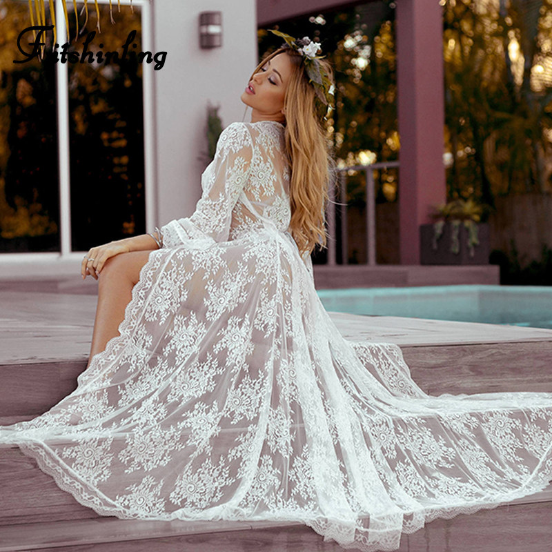 Fitshinling Holiday 2019 summer beach cover up lace sheer sexy hot white long cardigan swimwear flare sleeve bohemian cover-ups
