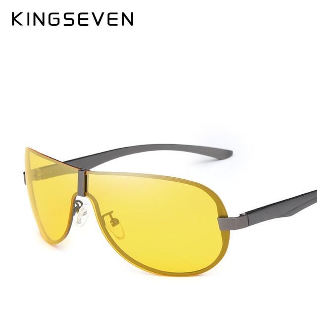 ecf6f1e4062 KINGSEVEN Aluminum Magnesium Polarized Night Vision Sunglasses Men Driver  Mirror Sun glasses Big Fishing Female Eyewear