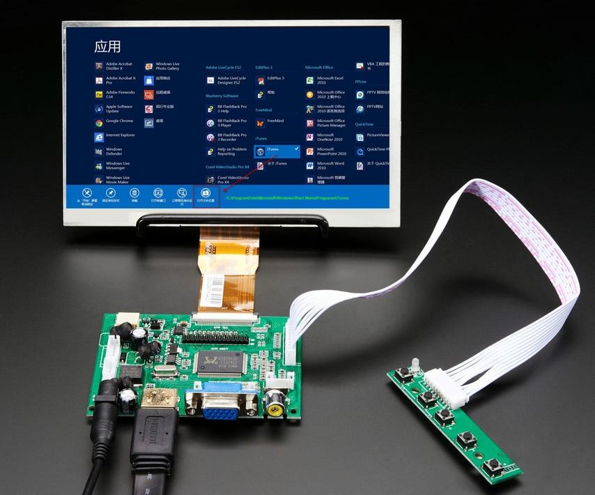 Tela lcd de 7 polegadas alta resolução, monitor de driver, placa hdmi vga para latmassa, raspberry pi banana pi