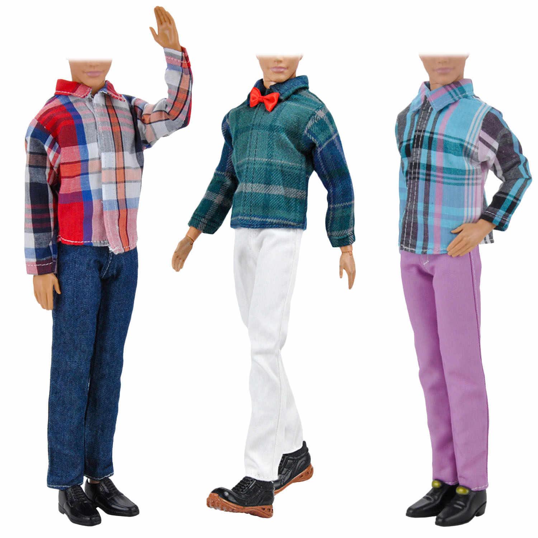 Besegad 3 комплекта, мини-мужская кукла-мальчик, одежда, рубашки в клетку, брюки, топы, штаны, пальто, наряды, аксессуары для Барби, Кен игрушка