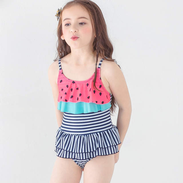 48c1436cba ... 2018 New Girls One-piece Striped Swimsuit Baby Girl Leaf Swimwear  Toddler Baby Swimsuits Children ...