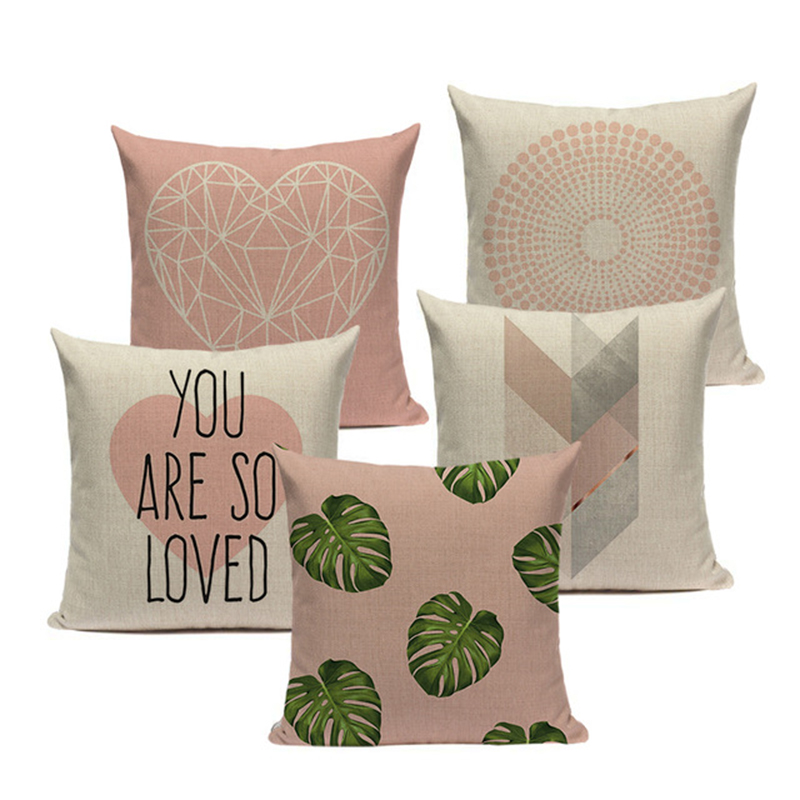 Pink Geometric Nordic Cushion Cover Tropic Palm Leaf Throw Pillow Cover Linen Cushion Case Sofa Bed Decorative Heart Pillowcase