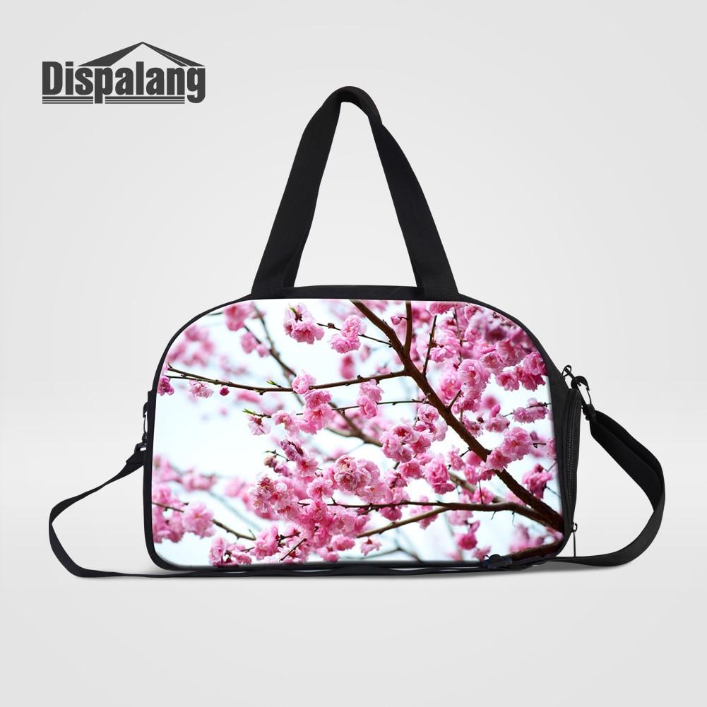 Dispalang Hot Mujeres portátiles de viaje Bolsas de mano Bolsas de flores de cerezo Floral Duffle Bag Mujeres Lienzo Viaje Bolsas de lona