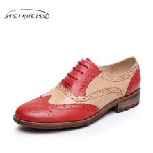 Genuine leather flat shoes women US size 8 handmade red black blue 2016 vintage round Toe British style oxford shoes for women цены онлайн