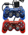 Wired controller para ps2 duplo choque wired gamepad controlador joystick joypad para playstation 2 azul/vermelho