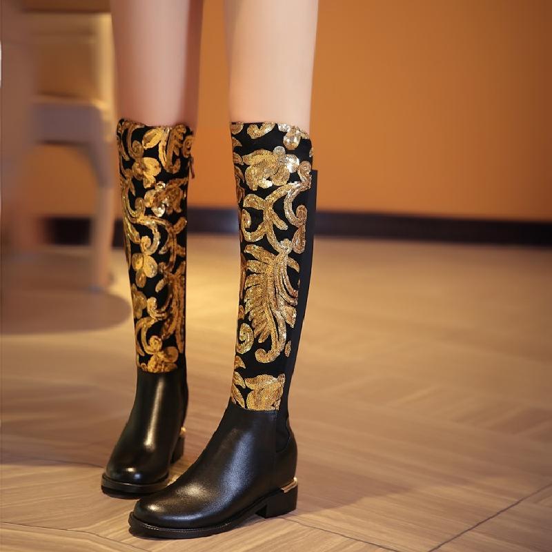 Botas Mujer Rodilla Bling Gruesos Altura Invierno De Cuero La As Aumento Show Zapatos Mujeres Tacones Diseñador Feminina Auténtico Lentejuelas Sexy TwxgAqxt