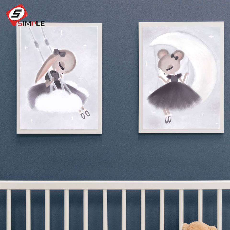 Scandinavian Bunny Girl Posters Prints Nordic Swing Rabbit Painting On Canvas Fancy Wall Pictures For Kids Nursery Room Decor