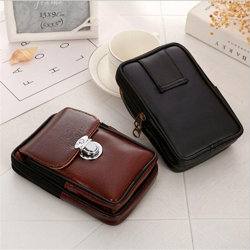 2018 PU Leather Vintage Waist Packs Men Travel Fanny Pack Belt Loops Hip Bum Bag Waist Bag Mobile Phone Pouch