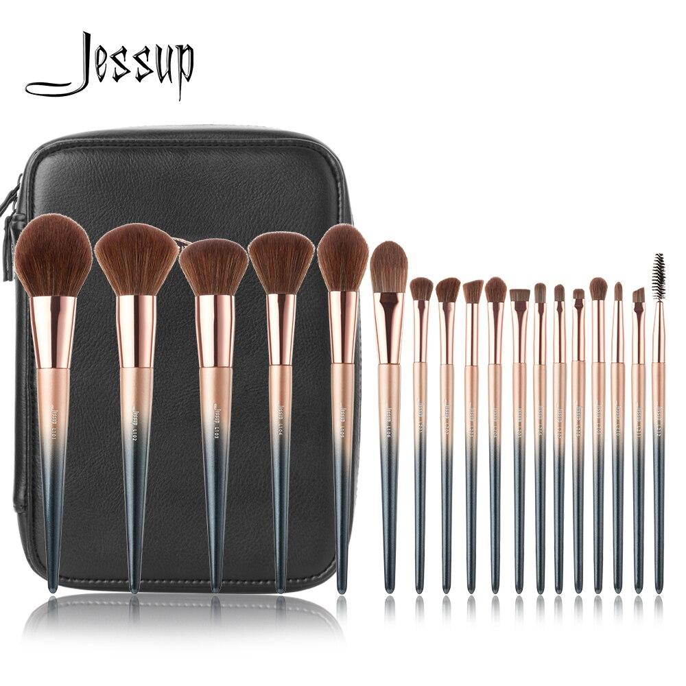 Jessup 18 pcs maquillage pinceaux T264 Cosmétique sac CB006 pincel maquiagem profissional completa Poudre Fard À Paupières de Mélange Brosse