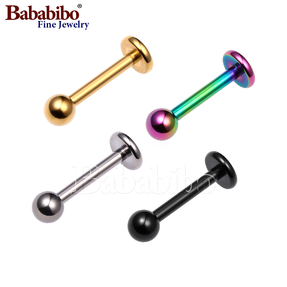 Tragus Ohrpiercing (Labret Lip Piercing), Titan, 16g, 6-10mm, Splitter Blcak Gold Rainbow