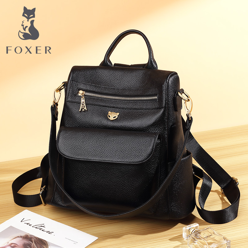FOXER Brand Teenage Student School Bag Cow Leather Lady Soft Backpack Female Business Bags Travel Large Capacity Skin Backpack in Backpacks from Luggage Bags