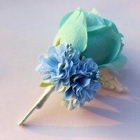 4 pieces wedding boutonnieres Sky blue color groom groomsman pin brooch silk rose corsage suit decor Calla flower accessories