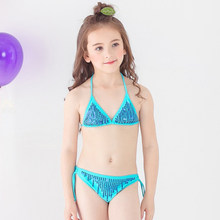 a13515a09c70 Menina Lantejoulas Dividir Biquíni 2018 Novas Meninas Duas Peças Maiôs  Menina Swimsuit Crianças Bikini Define Beachwear