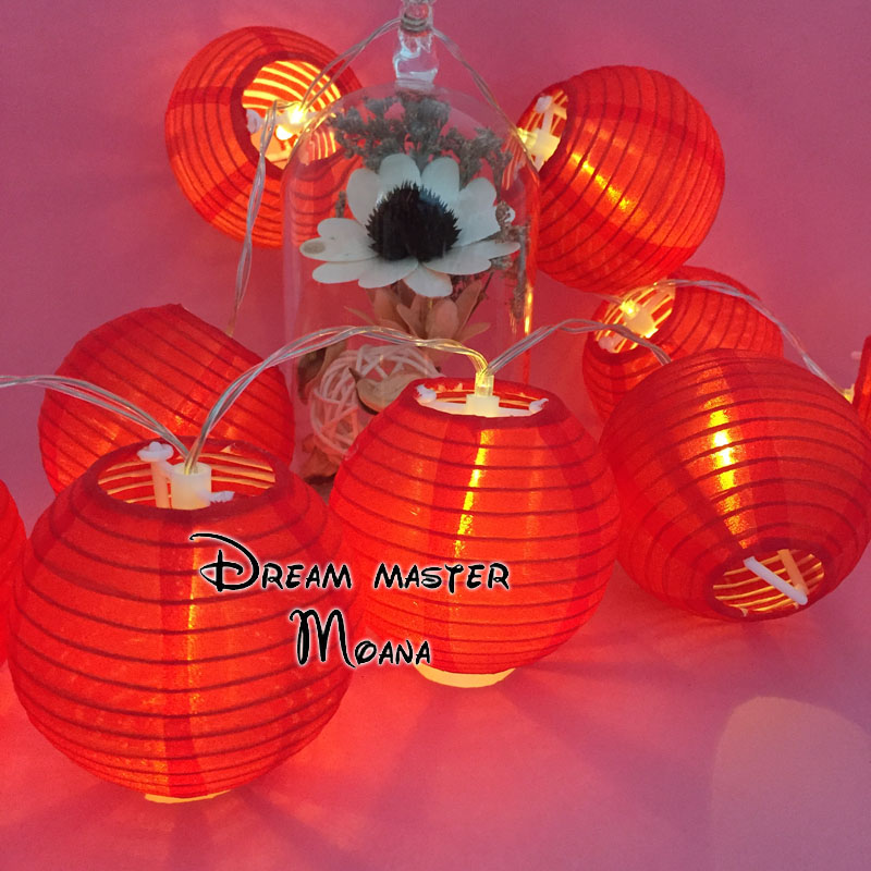 Battery Ed Warm White Led Lantern String Light Red Fairy For Christmas Tree Decor