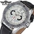 Vencedor Mens do relógio de marca Auto data cor prata dial pulseira de couro preto à prova d ' água homens relógios WRG8064M3S2