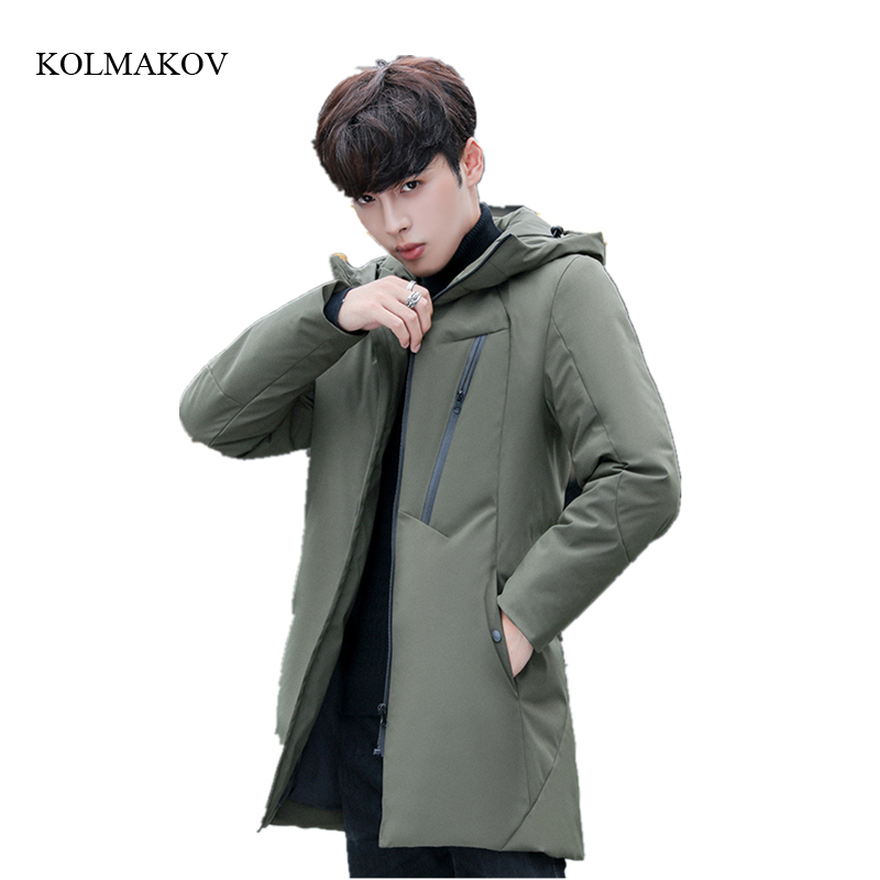 2017 new arrival style men high-end boutique   down     coats   fashion casual slim hooded men's solid zippers trench   coat   size M-3XL