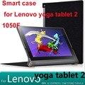 Yoga Tablet 2 caso 1050f Silk pu de couro inteligente da tampa do caso para lenovo yoga tablet 2 10.1 1050 1050f tablet case + tela protetor
