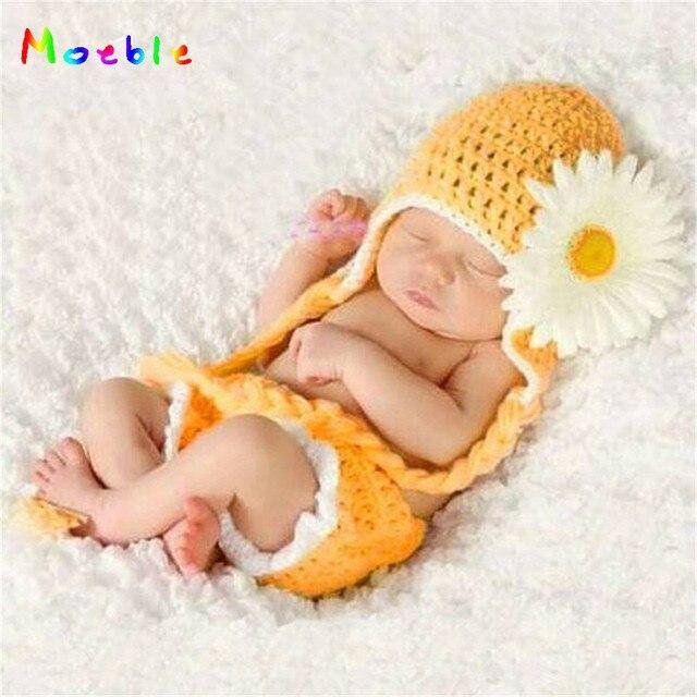 Crochet Hoa Cúc Bé Cô Gái Hình Ảnh Đạo Cụ Crochet Daisy Flower BÉ Sơ Sinh Costume Hat & Quần Short Đặt Trang Phục Trẻ Sơ Sinh MZS-14017