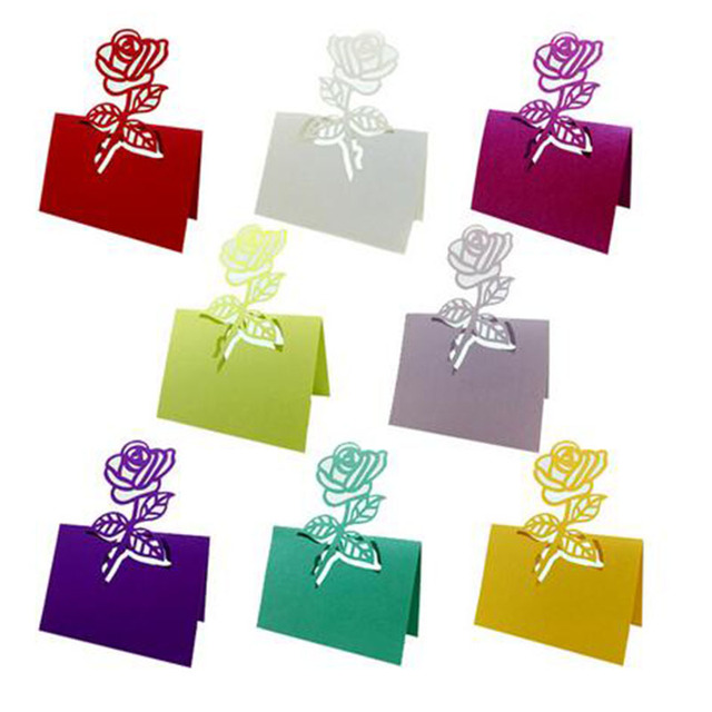 100pcslot Rose Flower Wedding Table Decoration Place Cards Name