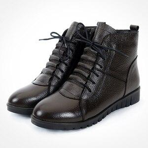 Image 5 - SWYIVY Schuhe Frauen Winter Warme Pelz Stiefeletten Aus Echtem Leder Stiefel Frauen Casual Schuhe Weibliche Bootee Woan 2019 Wasserdichte 43