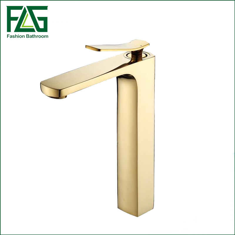 Free Shipping New Arrival Bathroom Gold Basin Faucet Gold Finish Brass Mixer Tap Tall torneiras para banheiro FLG100001 free shipping polished chrome finish new wall mounted waterfall bathroom bathtub handheld shower tap mixer faucet yt 5333