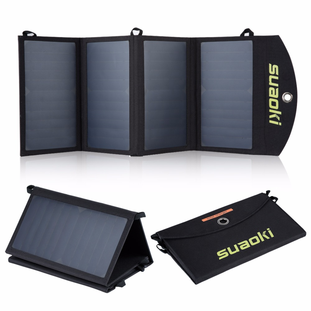 Suaoki 25W Solar Panels Portable Folding Foldable Waterproof Solar Panel Charger Power Bank for Phone Battery Charger portable 16w folding foldable waterproof solar panel charger dual usb output solar power bank camping charger for cell phone