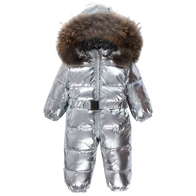 bfb901ba433d8e Noworodka kombinezony dziecięce zima śnieg chłopcy srebrny kaczki dół  kombinezon futro Romper stroje dla dzieci odkryty
