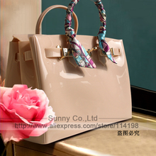 High quality luxury fashion summer beach bag jelly candy color bag women tote casual lock bag purse bolsas office handbags