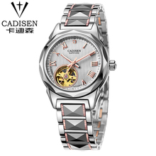 CADISEN Sapphire Automatic Mechanical Watch Women Stainless Steel Waterproof Watch Relogio Masculine
