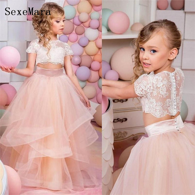 dc3460845 New Two Pieces Ball Gown Flower Girl Dress Lace Organza Children ...
