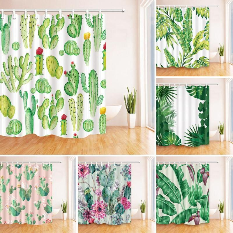 Polyester Colourful Green Leaves Shower Curtain Cactus 3D Plant Waterproof Fabric Bathroom Curtains Screen Home Decor 12 Hook v3