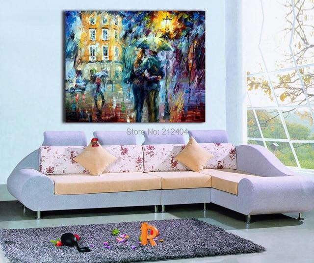 € 8.1 |Moderne Palette Couteau Peinture Couple Doux Baiser sous la Pluie  toile Peinture HD Imprime Art Sans Cadre Mur Photo pour Salon chambre dans  ...