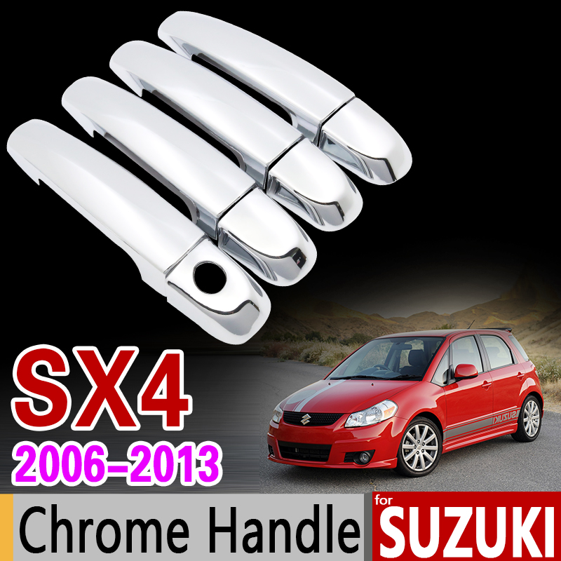 for Suzuki SX4 2006 - 2013 Chrome Handle Cover Trim Set Fiat Sedici Maruti 2007 2008 2009 2010 2011 2012 Accessories Car Styling ...