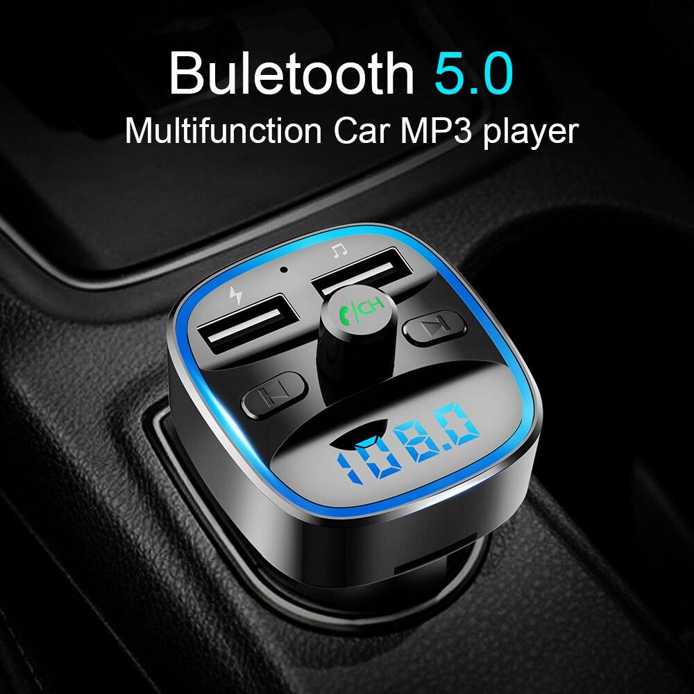 Cden carro mp3 player de música bluetooth 5.0 receptor transmissor fm duplo usb carregador de carro u disco tf cartão lossless leitor música