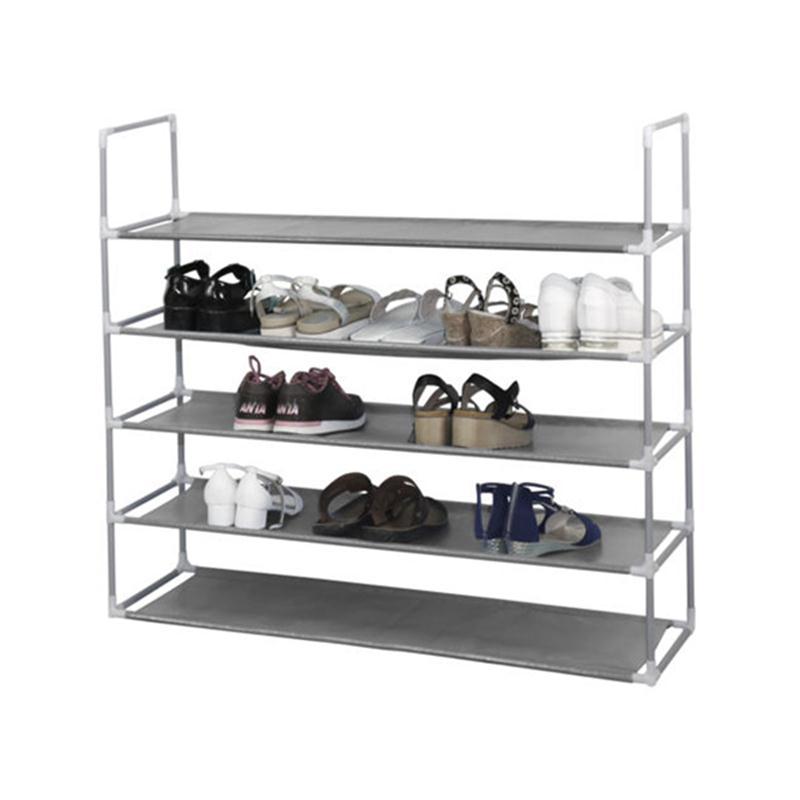 50 Pairs 10 Tier Space Saving Storage Organizer Free Standing Shoe Tower  Rack (Gray)