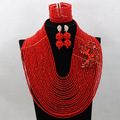 Luxury Full Beads Red African Jewelry Sets Nigerian Wedding Jewelry Set Crystal Party Necklace Set Free Shipping WA657