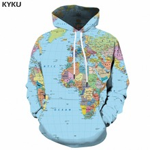 KYKU World Map Hoodie Men Graffiti Hoodies 3d Geometric Print Sweatshirt Anime Funny Mens Clothing Colorful Hooded Pullover New