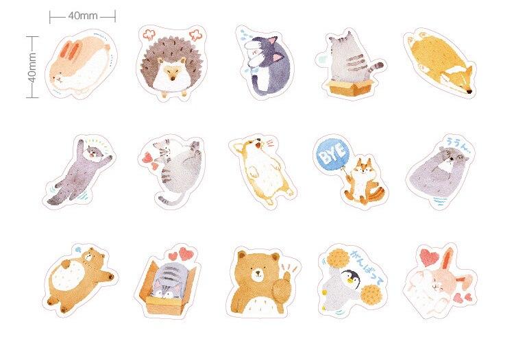 Купить с кэшбэком 45PCS/PACK Kawaii Cute Bear Hedgehog Sticker Marker Planner Diary Decorate School Stickers Scrapbooking Bullet Journal sl1722