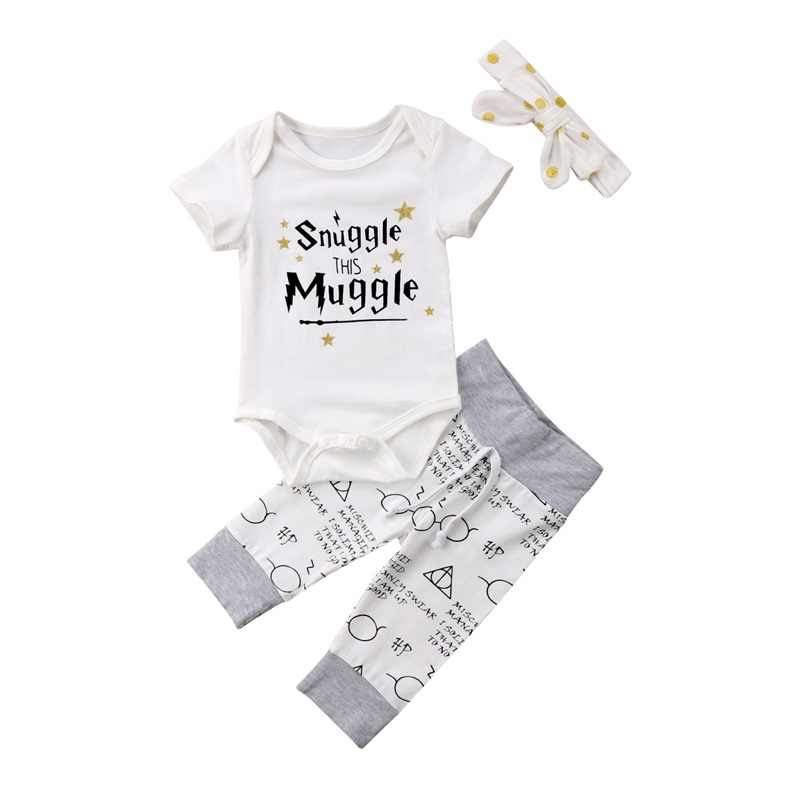 f0e34b58409 Newborn Baby Clothes 2019 Snuggle This MuggleTops rompers+Pants+Headband 3  Pieces sets Infant