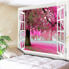 Romantic Big Tree Pink Flower Wall Hanging Tapestries Bohemian Carpet Tapestry Couch Blanket Home Decor Outside the Windows