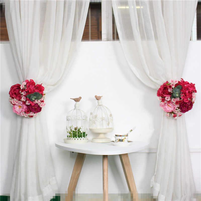 Свадебная искусственная Роза штора с пионами цветок маленький ряд цветов Шелковый Искусственный цветок домашняя гирлянда свадебная АРКА подоконник украшение