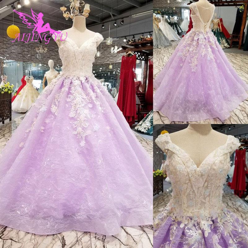 AIJINGYU Weddingdress Plus Size Muslim Gown Rhinestone