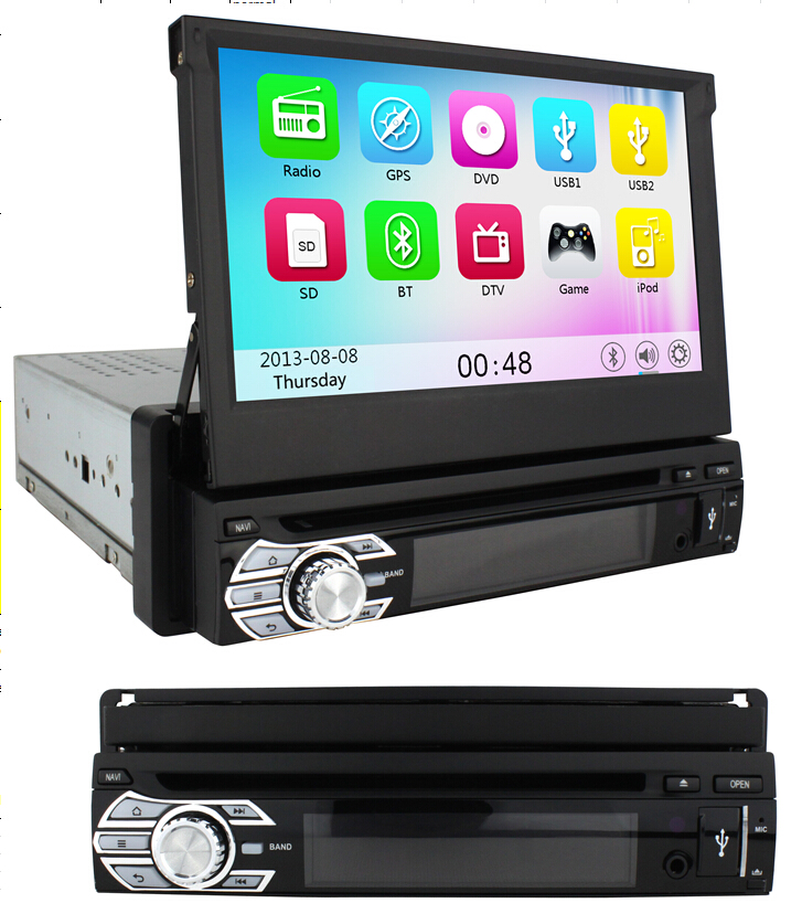 1din car radio dvd gps navigation w 7 hd touch screen bluetooth tv usb sd mp3 1 din auto audio. Black Bedroom Furniture Sets. Home Design Ideas